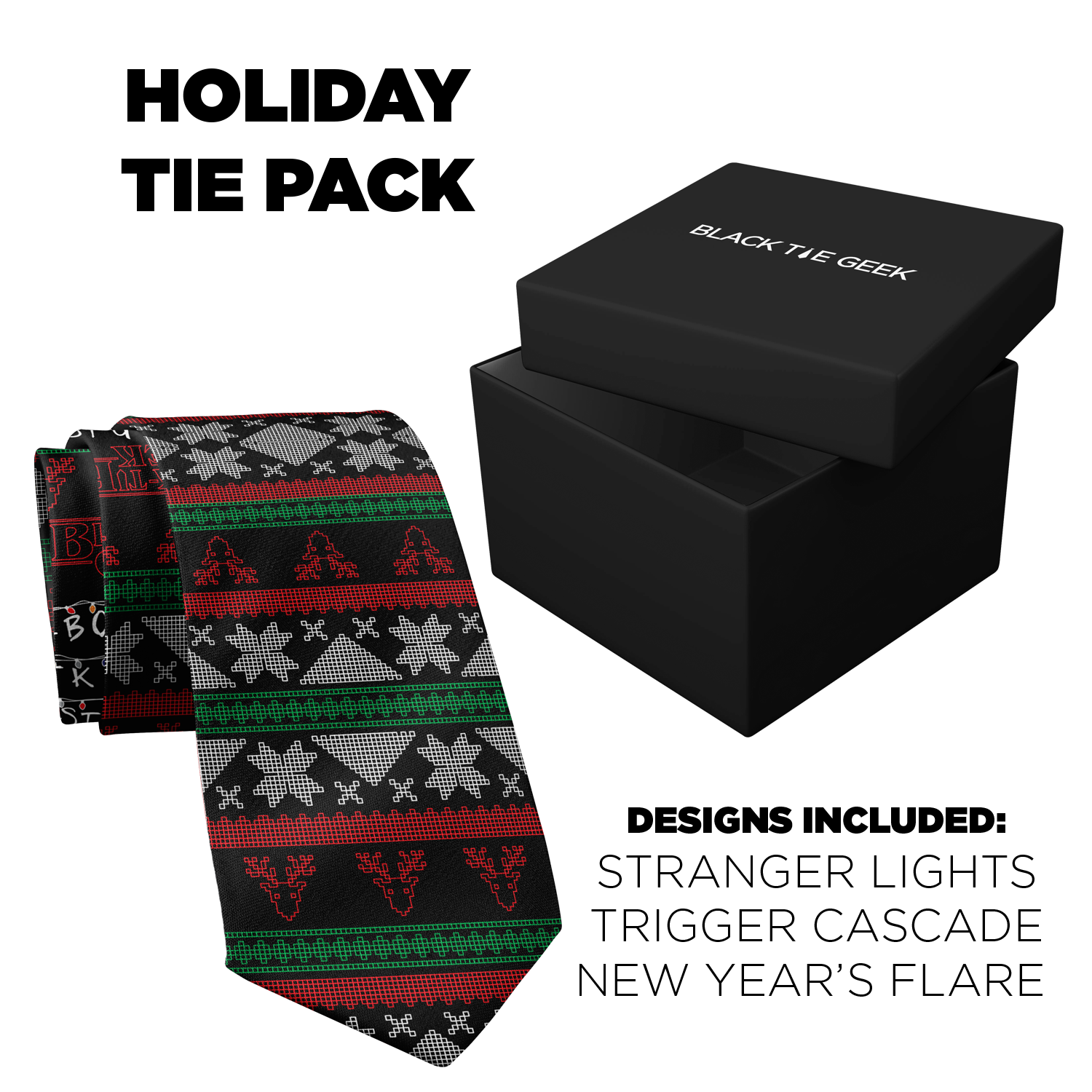 Holiday Tie Pack (3 ties + 3 pocket squares)