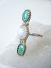 Gaia Turquoise + Moonstone Statement Ring Size 6.25 // One Of a Kind