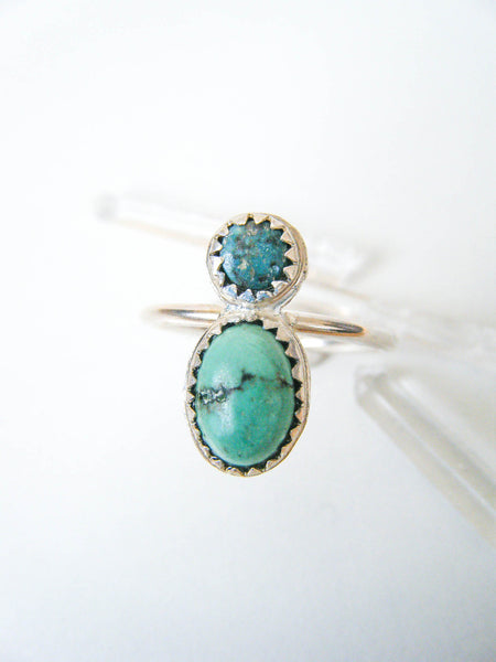 Turquoise Lover's Ring Duo Size 7.25 // One Of a Kind