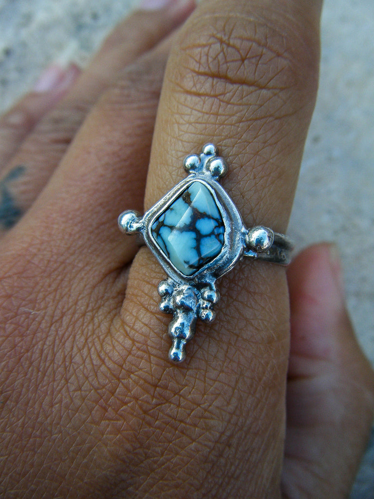 *NEW* Spirit Crown//Unique Turquoise Wearable Art Ring// 925 Sterling Silver// Size 8.25