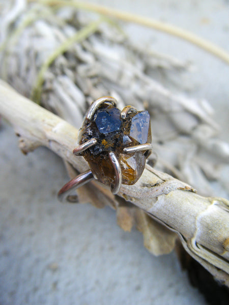 Smoky Herkimer Ancient Crystal Ring // Size 8.25