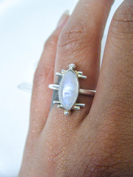 Moonstone Ethereal Ring Size 7.25 // One Of a Kind Wearable Art