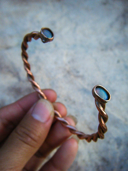 Elegant Copper Rope Bangle With Lightning Opal