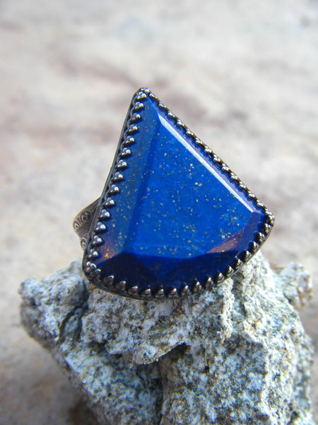 Eternal Infinite// Royal Blue Lapis Artisan Ring Size 7.5