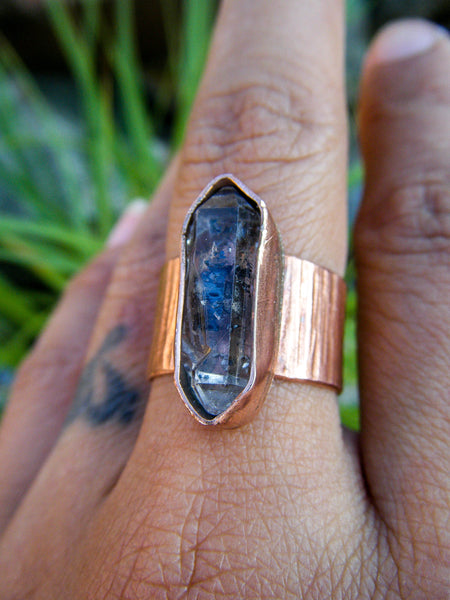 Tibetan Soul Quartz Copper Ring// Size 9