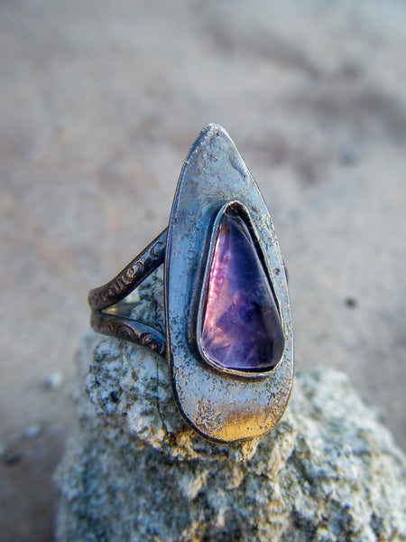 Bold Amethyst Shield Ring// Artisan Statement Ring Size 8