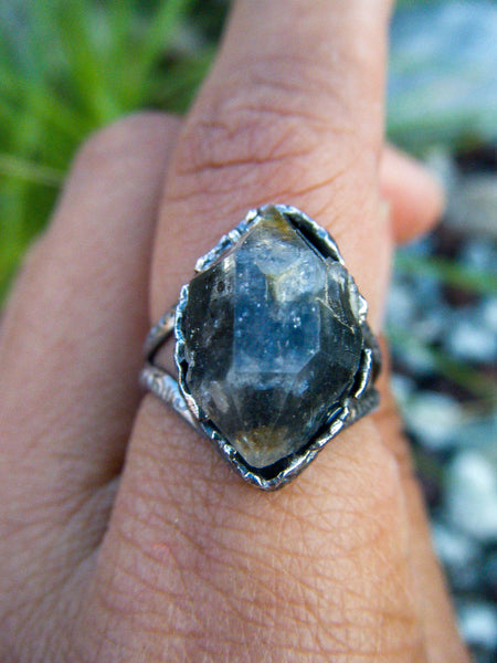 The Mage// Tibetan Quartz Artisan Statement Ring// Size 8