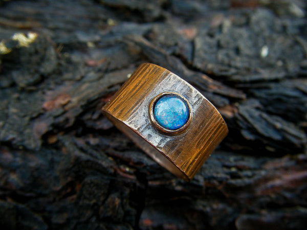 Enchanting Tree Magic Forest Ring// Australian Opal Ring With Copper// Size 6.5