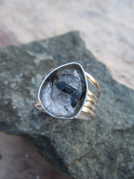 Faceted Tourmaline Quartz Nature Ring Size 8