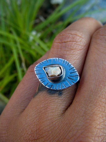 Inner Eye Opal Ring// 925 Sterling 6.5