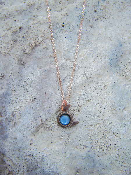 *NEW*Nova Necklace// Delicate Opal Studded Moon With Rose Gold Filled Chain