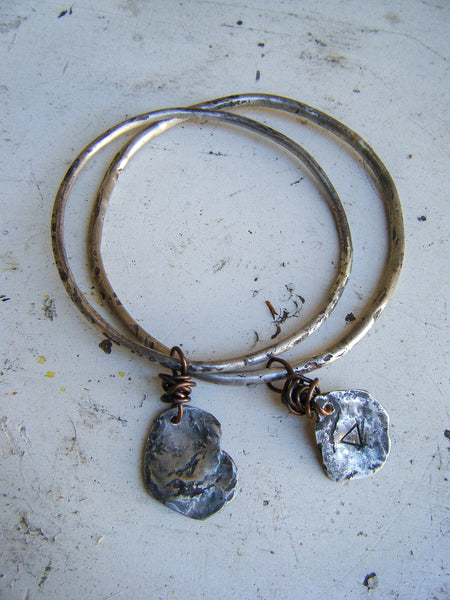 Silver and Copper Alchemy Bangle Bracelet Set