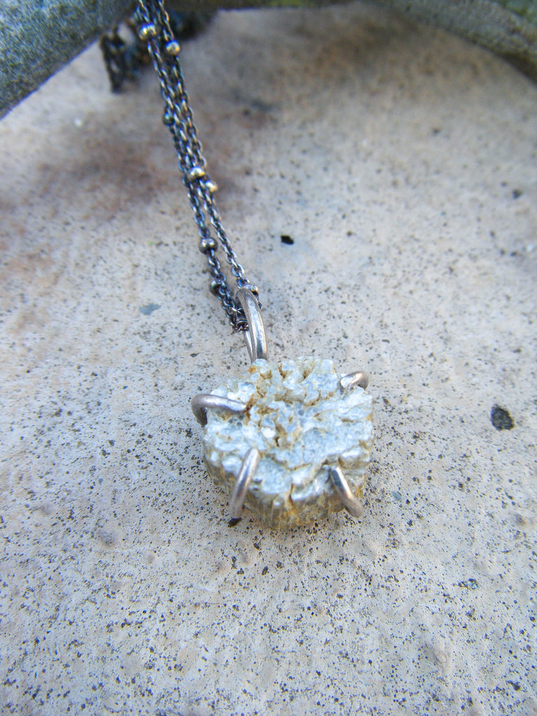Gemmy Mica Crystal Artisan Silver Necklace