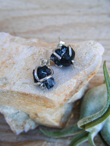 *NEW* Raw Gemmy Black Tourmaline Stud Earrings