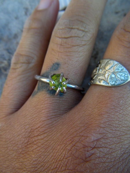 Raw Natural Peridot Silver Stacker// Size 8