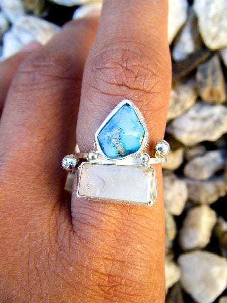 ..:ETHEREAL DREAMS:.. Australian Opal + Turquoise Artisan Ring Sz 7.25