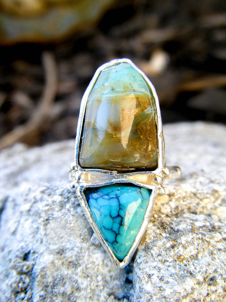 .::ETHEREAL DREAMS::. Peruvian Opal + Turquoise Artisan Ring Sz 6.5
