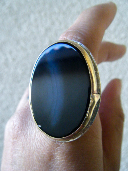 The Empress Ring + Black Lace Agate// Size 8.25