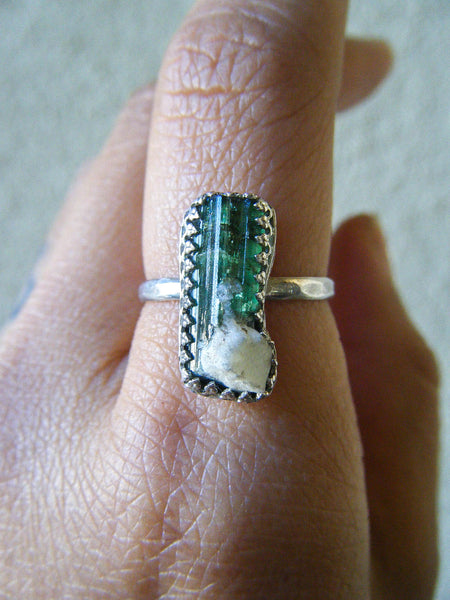 Tourmaline Queen Ring + Rare Green Tourmaline // Size 8