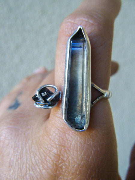 Earthen Raw Smoky Quartz + Tourmaline Silver Ring// Size 7