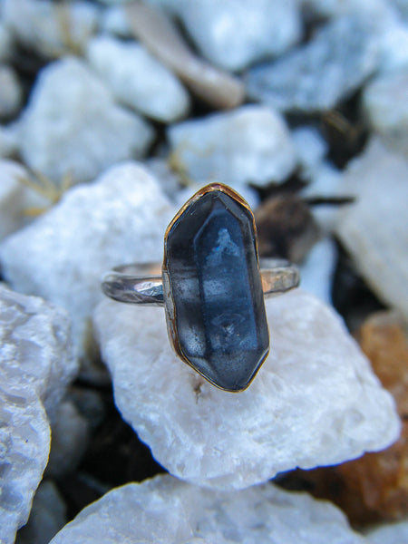 The Zivah Ring + Black Tibetan Quartz // Size 5.5