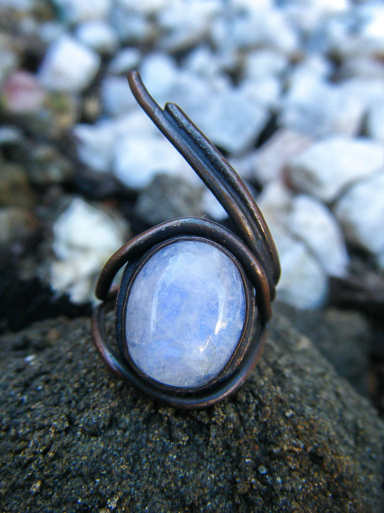 Moonstone Eye Ring + Copper // Size 7.25