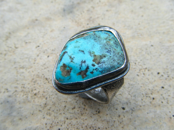 The Four Elements// Manifestor Turquoise Ring in 925 Sterling Silver Size 8