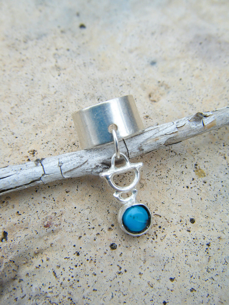 Tribal Turquoise Ear Cuff// Sterling Silver