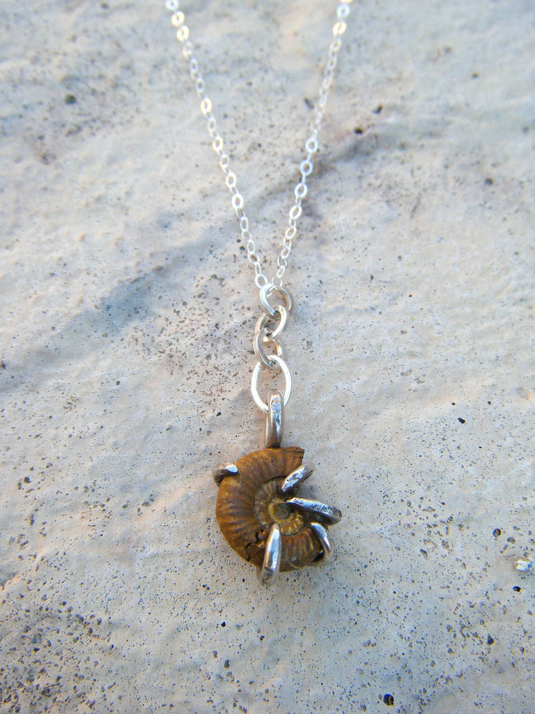Golden Ammonite Sterling Silver Necklace