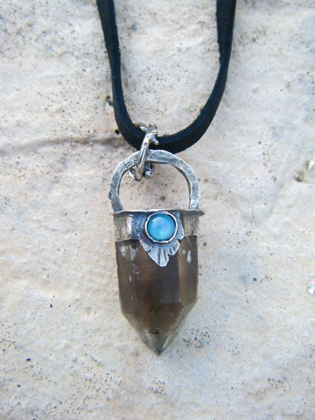 Feather Omens Necklace With Smoky Quartz and Opal