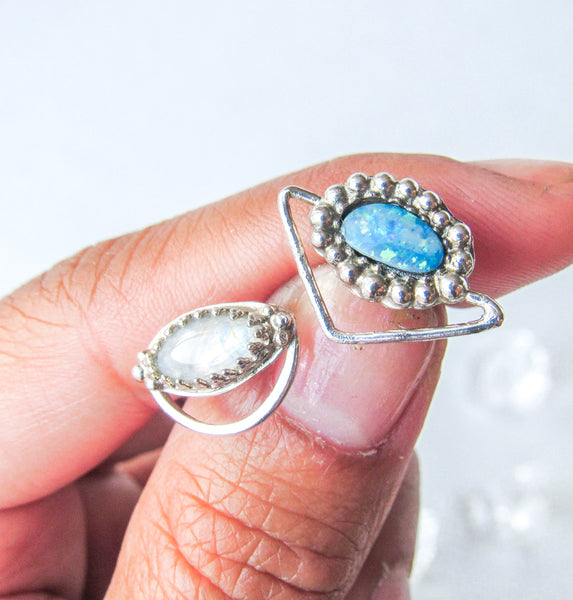 Unique Asymmetrical Opal + Moonstone Stud Earrings