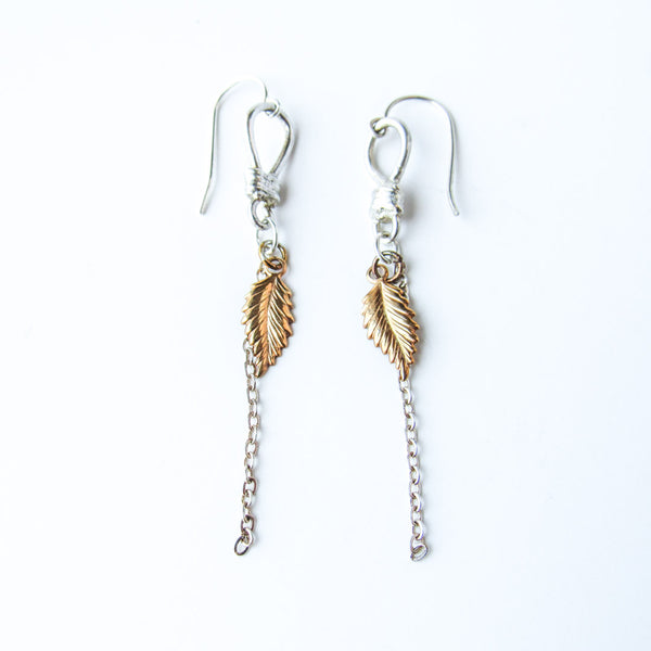 ETHER Golden Leaves Mixed Metals Earrings // One of a Kind