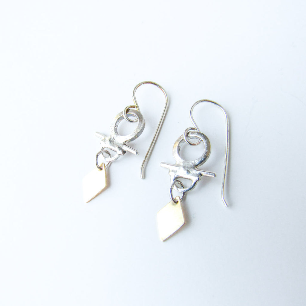 ATHENA Silver + Gold Dangle Earrings // One of a Kind