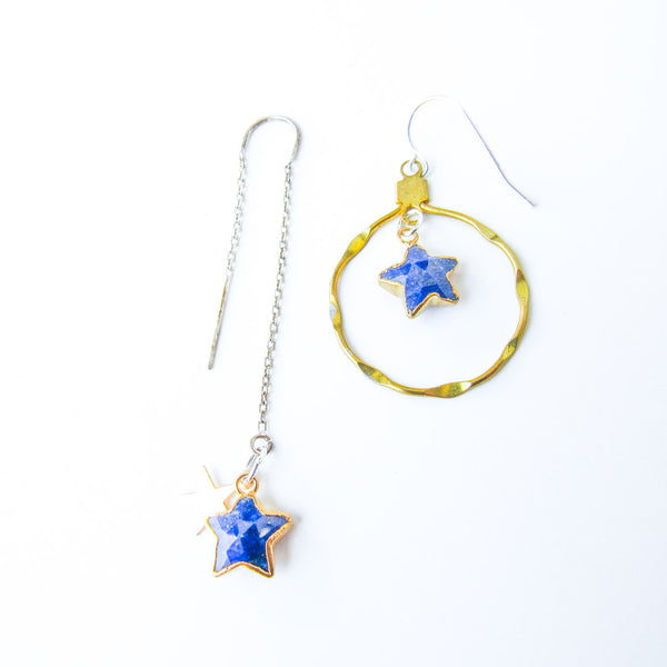 STARRY EYED Lapis Gemstone Asymmetrical Earrings