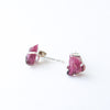 Watermelon Tourmaline Raw Stone Stud Earrings