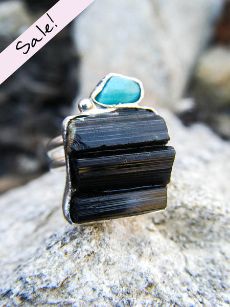 SALE // The Naida Ring + Turquoise & Tourmaline// Size 6