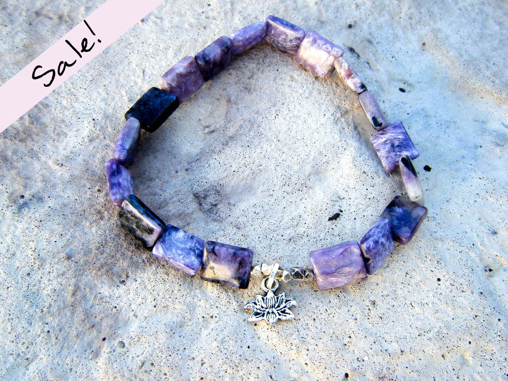 Lotus Totem Yoga Bracelet + Purple Charoite Gemstone