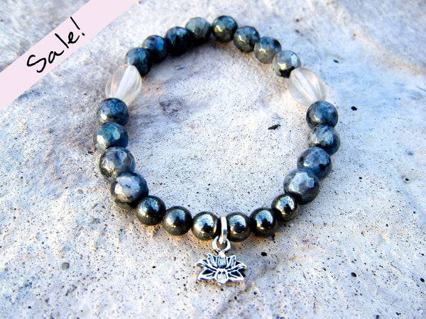 Lotus Totem Yoga Bracelet + Pyrite & Moonstone Gemstone