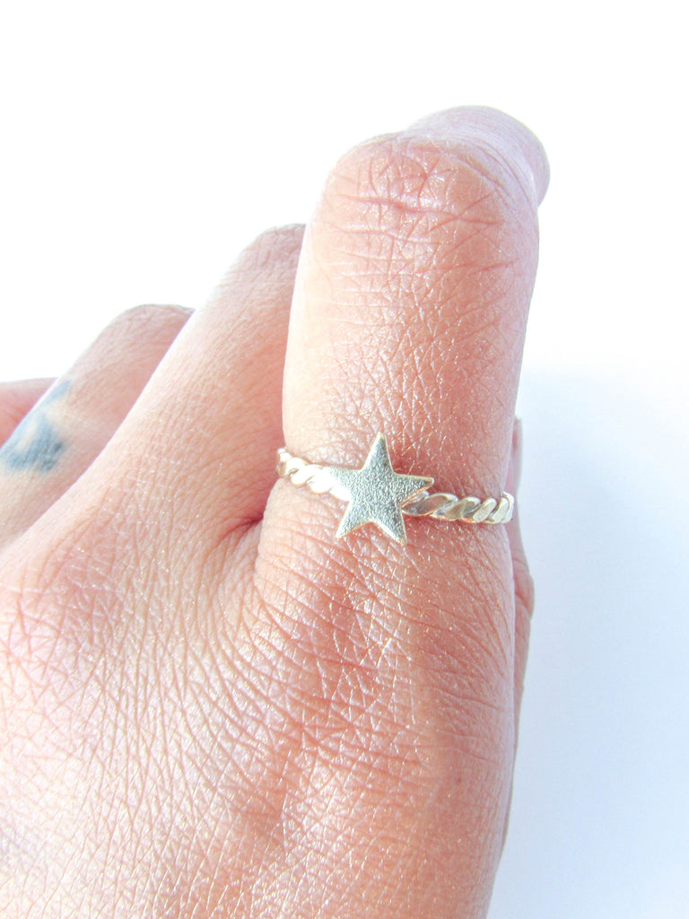 Textured Brass Star Stacker // Size 9
