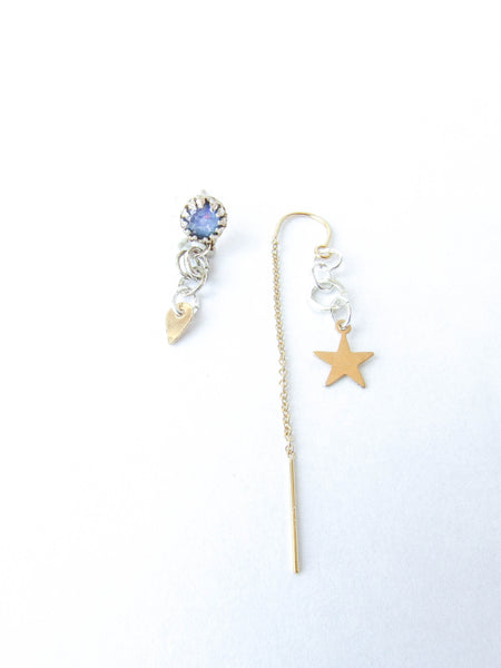 STAR BABE Druzy Asymmetrical Earrings// ONE OF A KIND!
