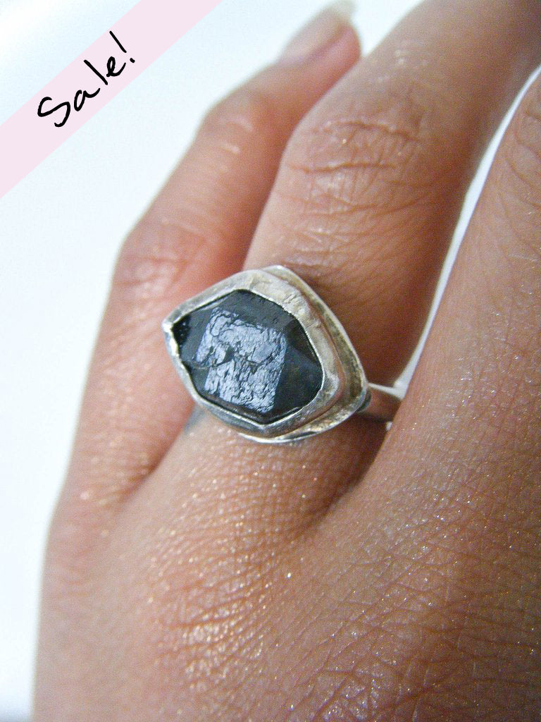 SALE! Black Smoky Quartz Ethereal Ring Size 6.5 // One Of a Kind