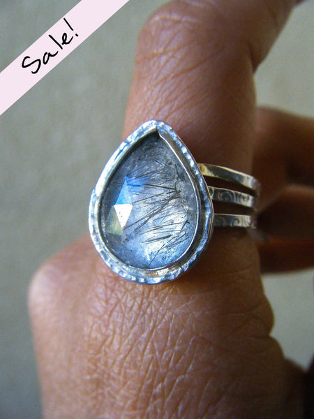 NEW TO SALE! Faceted Tourmaline Included Quartz Silver Stacker Set of 3 Rings// Size 8.75