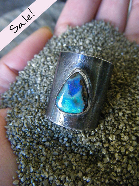 NEW TO SALE! The Earthen Statement Ring + Australian Boulder Opal // Size 7-9 Adjustable