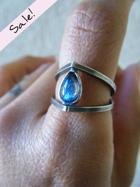 NEW TO SALE! Dreamy Labradorite Gemstone Silver Ring// Size 7.5