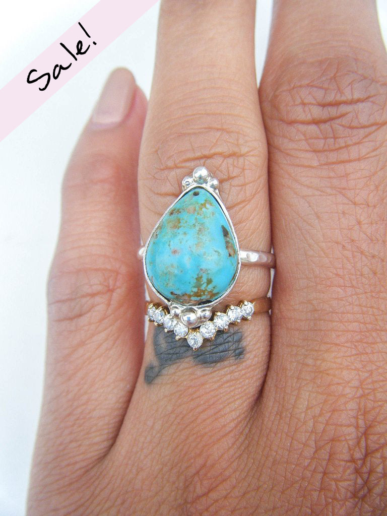 NEW TO SALE! Turquoise Lover's Ring Size 7 // One Of a Kind