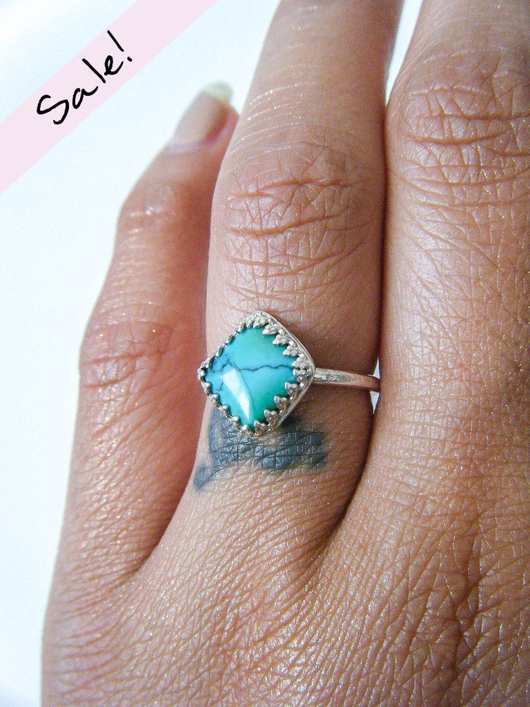 NEW TO SALE! Sweet Diamond Turquoise Lover's Ring Size 6 // One Of a Kind