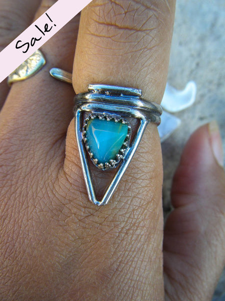 Delta// Peruvian Opal Triangle Ring of Change// Size 6.5