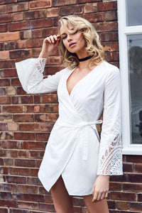 Wrap Lace Bell Sleeve Dress