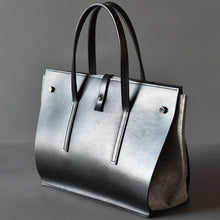 DoBo Handbag - Black Leather Shell with Light Grey Felt