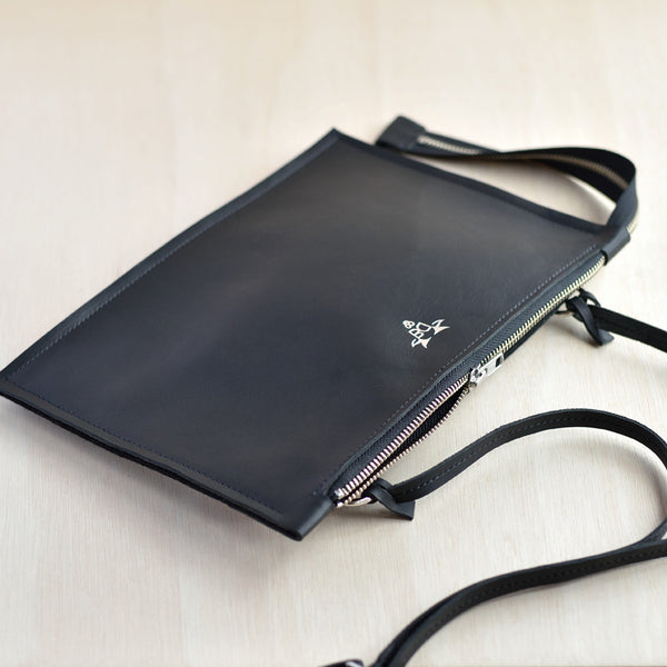 Cross Body Zip Pouch - Black Leather and Black Felt